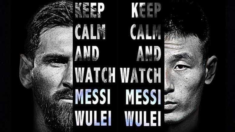 Messi y Wu Lei (Twitter TV China)
